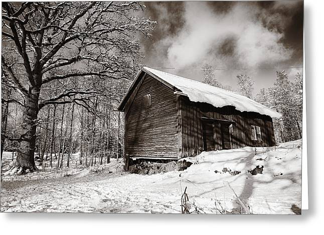 Old Rural Barn In A Winter Landscape Greeting Card by Christian Lagereek