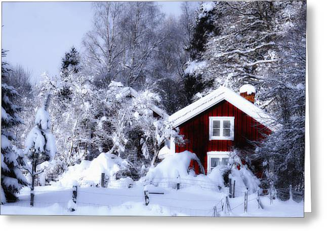 Old Rural Winter Landscape Scenery Greeting Card by Christian Lagereek