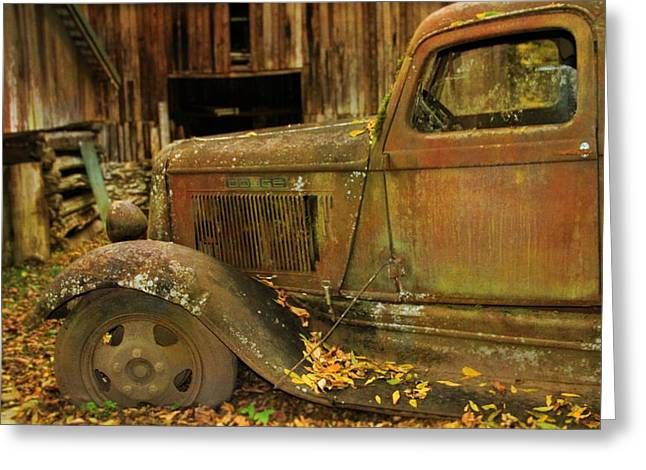 Old Rusted Truck In Autumn Greeting Card by Dan Sproul