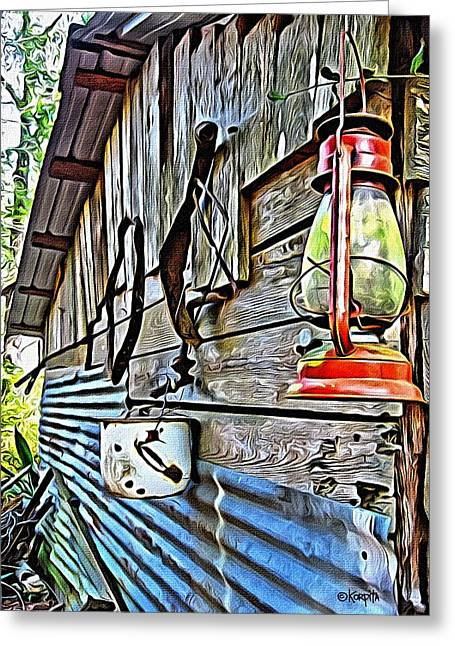 Old Rustic Building - Aunt Tinys Shed  Greeting Card by Rebecca Korpita