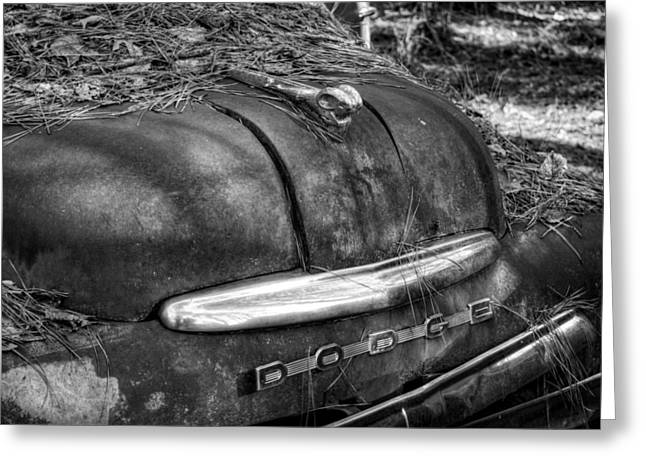 Old Rusty Dodge In Black And White Greeting Card by Greg Mimbs