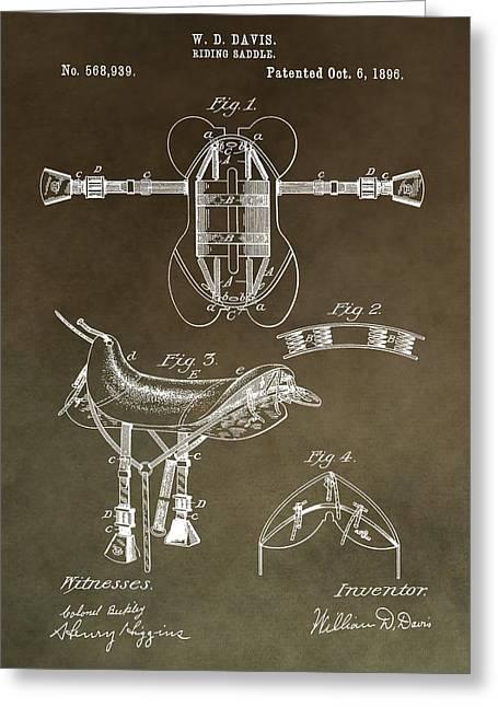 Old Saddle Patent Greeting Card