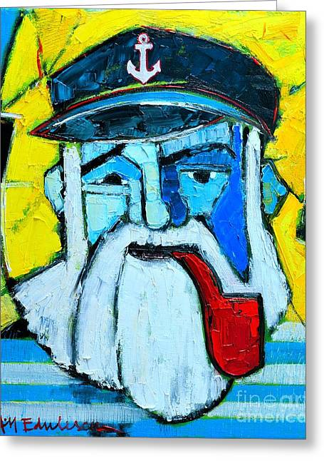Old Sailor With Pipe Expressionist Portrait Greeting Card by Ana Maria Edulescu