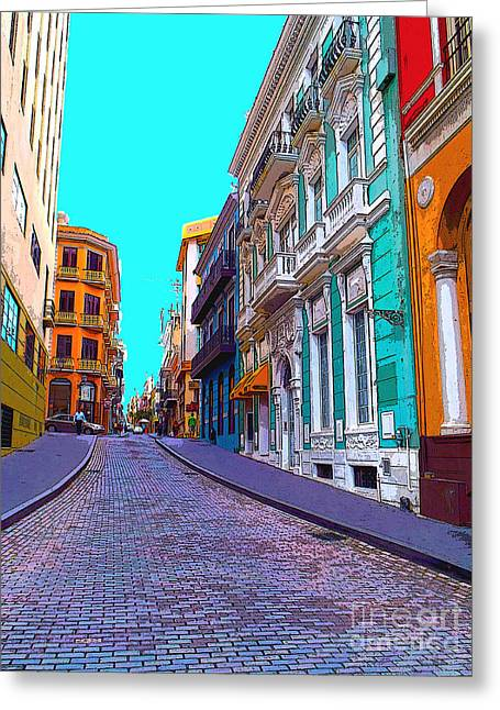 Old San Juan Greeting Card by Carey Chen