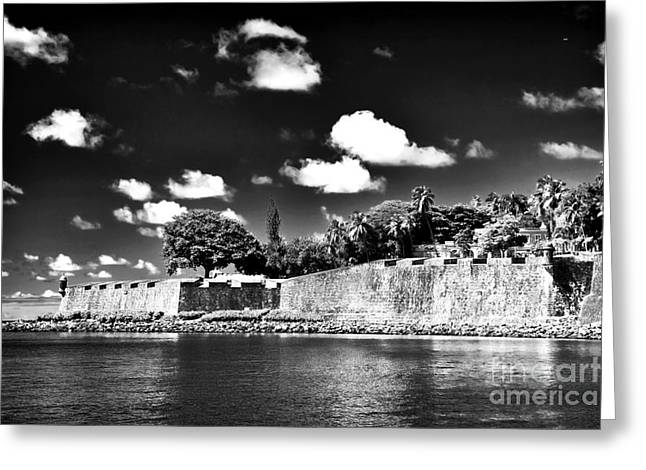 Old San Juan In Black And White Greeting Card by John Rizzuto