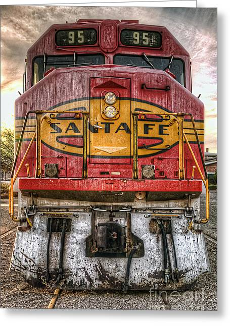Old Santa Fe Engine Greeting Card by Eddie Yerkish