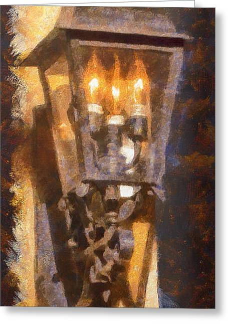 Old Santa Fe Lamp Greeting Card by Michael Flood