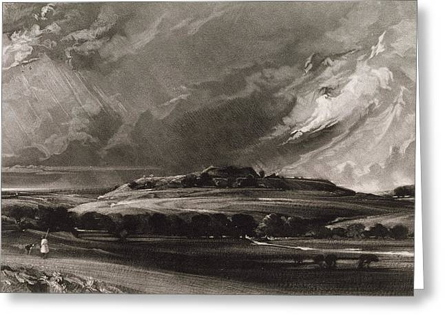 Old Sarum, Engraved By David Lucas 1802-81 C.1829 Mezzotint Greeting Card by John Constable