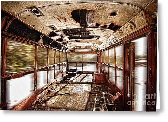 Old School Bus In Motion Hdr Greeting Card by James BO  Insogna