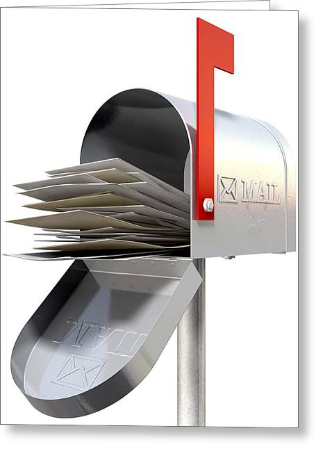 Old School Retro Metal Mailbox Full Greeting Card by Allan Swart