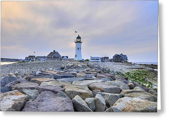 Old Scituate Light Greeting Card by Dan Myers