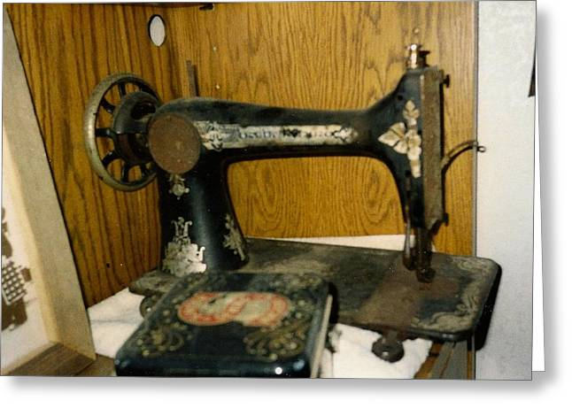 Old Sewing Machine Greeting Card by Amazing Photographs AKA Christian Wilson