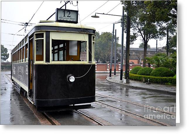 Old Shanghai Trolley Tram Car Rests In Tracks Greeting Card by Imran Ahmed