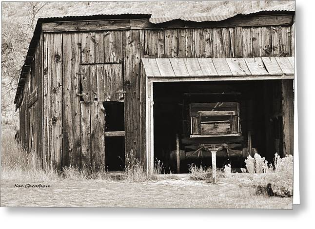 Old Shed And Wagon - Sepia Greeting Card