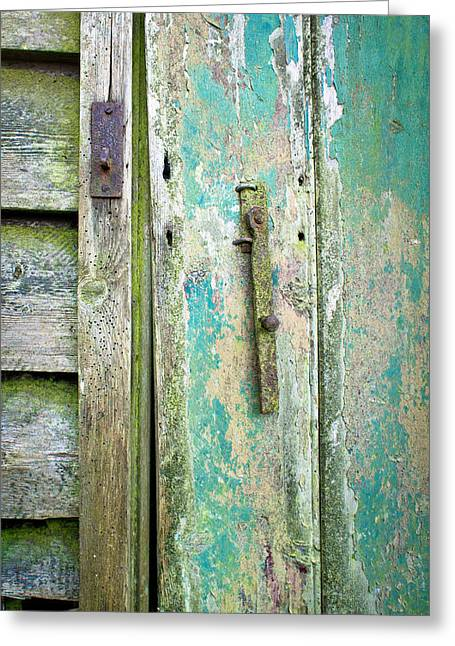 Old Shed Door Greeting Card by Tom Gowanlock
