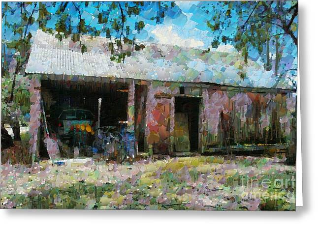 Greeting Card featuring the digital art Old Shed Near Braidwood by Fran Woods