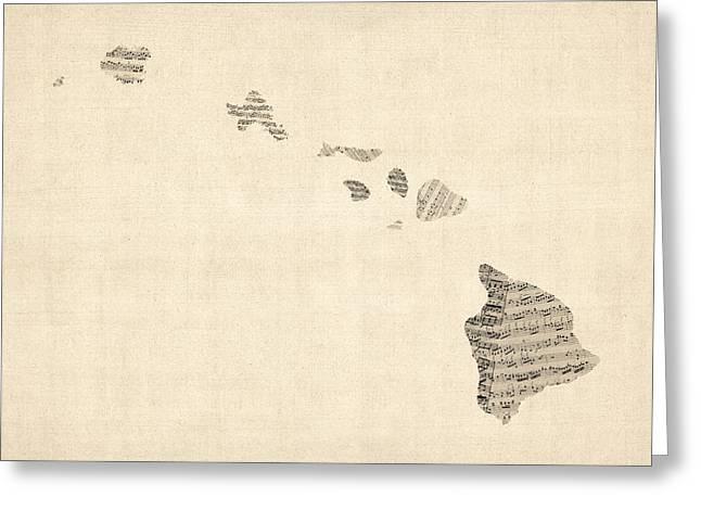 Old Sheet Music Map Of Hawaii Greeting Card