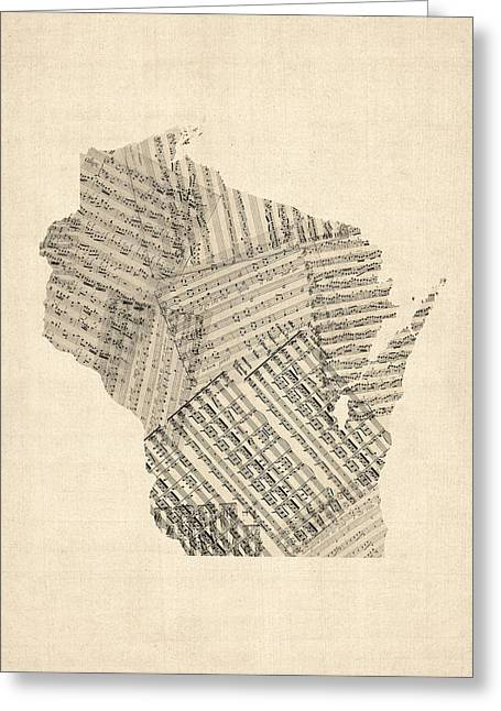 Old Sheet Music Map Of Wisconsin Greeting Card by Michael Tompsett