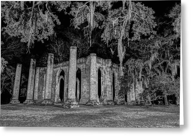 Old Sheldon Church At Night Greeting Card