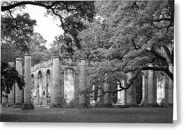 Old Sheldon Church - Black And White Greeting Card