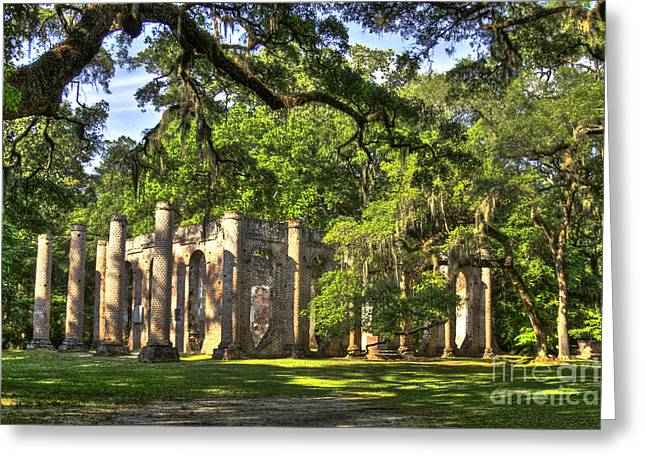 Old Sheldon Church Ruins Greeting Card by Reid Callaway