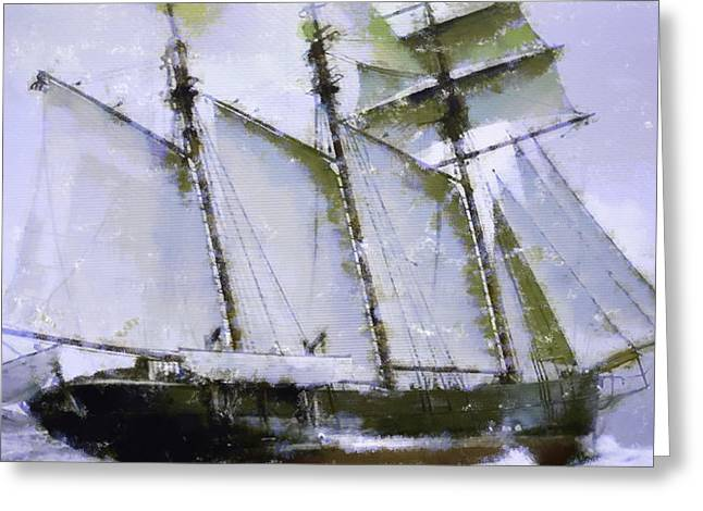 Old Ship Sailing  Greeting Card by Tommytechno Sweden