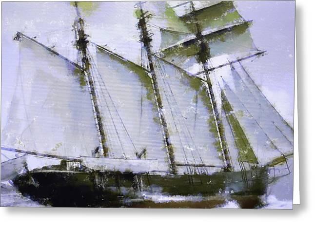 Old Ship Sailing  Greeting Card
