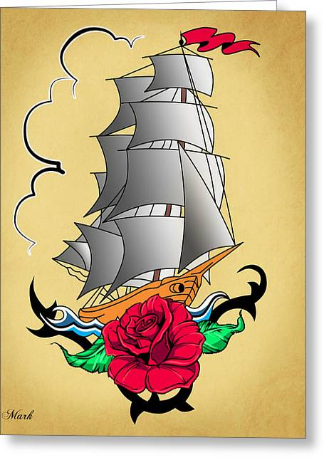 Old Ship Tattoo  Greeting Card by Mark Ashkenazi