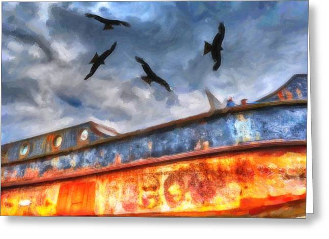 Old Ship Wrack Greeting Card by Tommytechno Sweden
