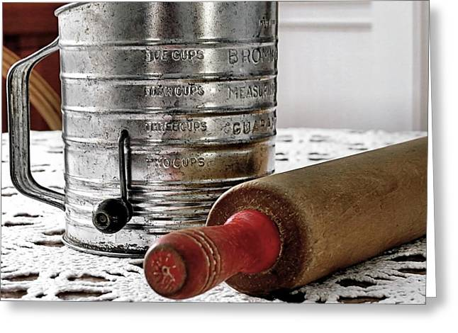 Old Sifter And Rolling Pin Greeting Card by Janice Drew