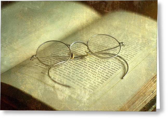 Old Silver Spectacles And Book Greeting Card by Suzanne Powers