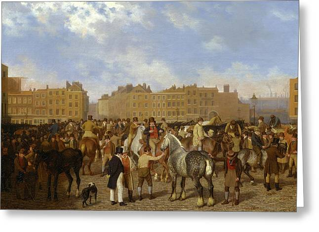 Old Smithfield Market, London Signed In Brown Paint Greeting Card by Litz Collection