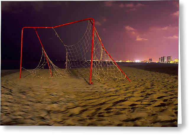 Old Soccer Net Greeting Card by Aged Pixel