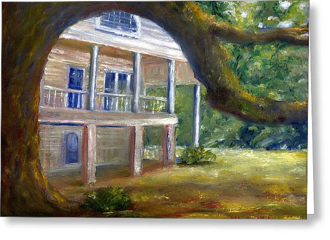 Greeting Card featuring the painting Old Southern Louisiana Mansion Plantation by Lenora  De Lude