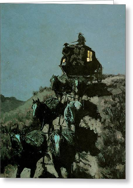 Old Stage Coach Of The Plains Greeting Card by Frederick Remington