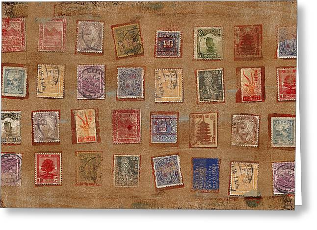 Old Stamp Collection Greeting Card by Carol Leigh