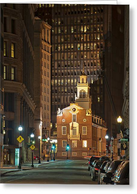 Old State House By Night Greeting Card by Joann Vitali