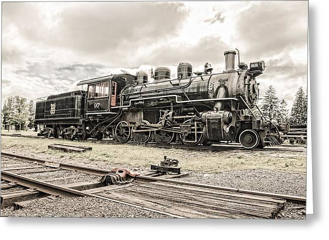 Greeting Card featuring the photograph Old Steam Locomotive No. 97 - Made In America by Gary Heller