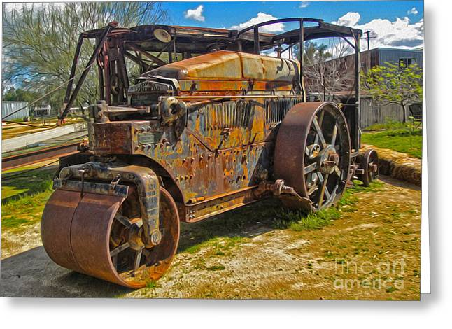 Old Steam Roller  Greeting Card