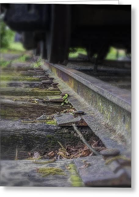 Old Steel Railroad Tracks Greeting Card by Steve Hurt