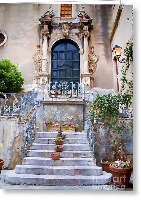 Old Steps In Taormina Sicily Greeting Card