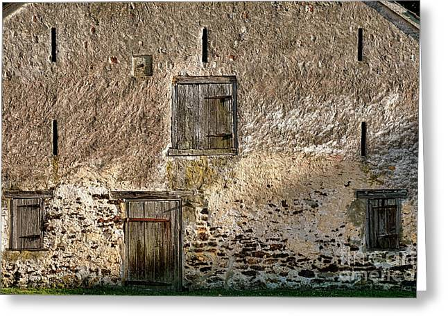 Old Stone Barn Greeting Card by Olivier Le Queinec