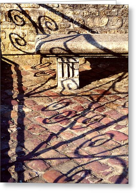 Greeting Card featuring the photograph Old Stone Bench by Mary Bedy