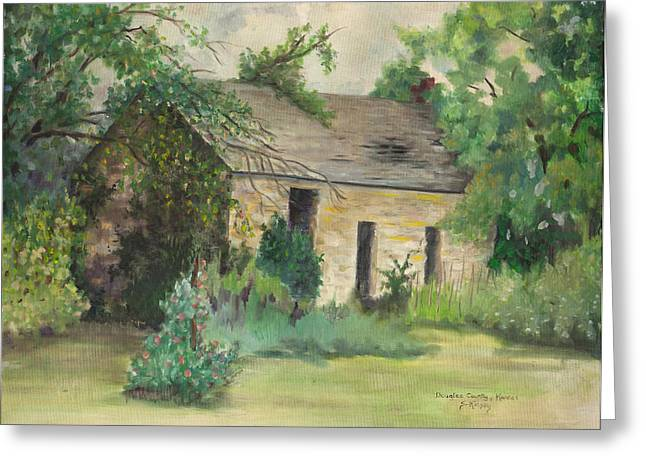 Old Stone Building In Kansas Greeting Card by Sheila Kinsey