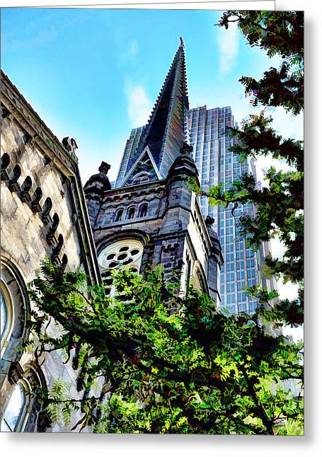 Greeting Card featuring the photograph Old Stone Church - Cleveland Ohio - 1 by Mark Madere