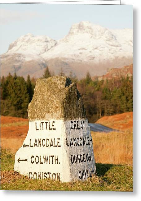 Old Stone Road Sign In Langdale Greeting Card by Ashley Cooper