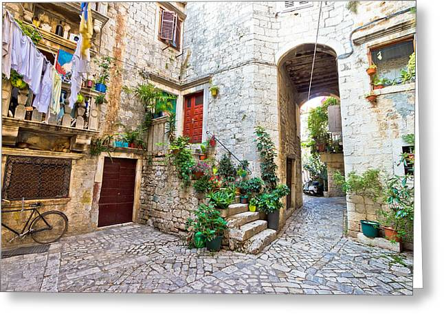 Old Stone Street Of Trogir Greeting Card