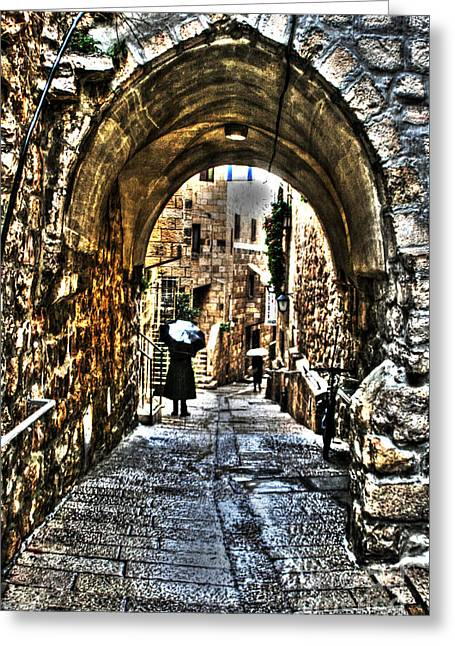 Greeting Card featuring the photograph Old Street In Jerusalem by Doc Braham