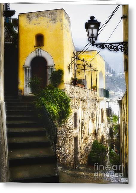 Old Street In Positano Greeting Card by George Oze