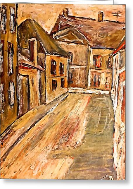 Old Street In The Old Transylvanian City Greeting Card by Ion vincent DAnu